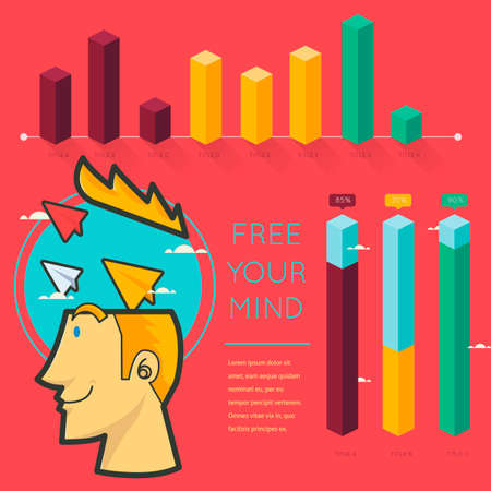 free your mind: Free your mind infographic Illustration
