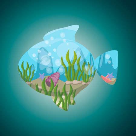 double exposure: Double exposure fish and underwater