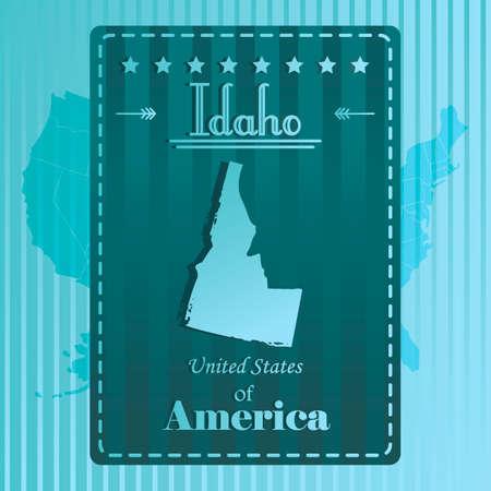 idaho: Idaho state map label Illustration