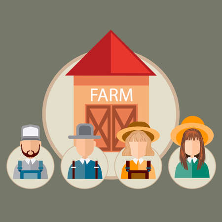 occupations: Infographic of farm occupations Illustration