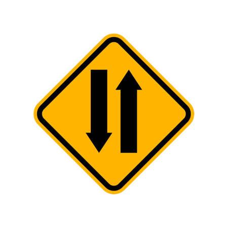 roadsigns: Warning two-way road sign Illustration