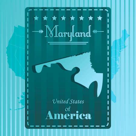 maryland: Maryland state map label Illustration