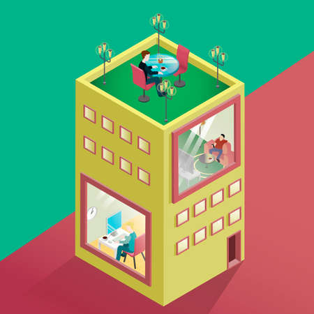 lawn chair: Isometric of building