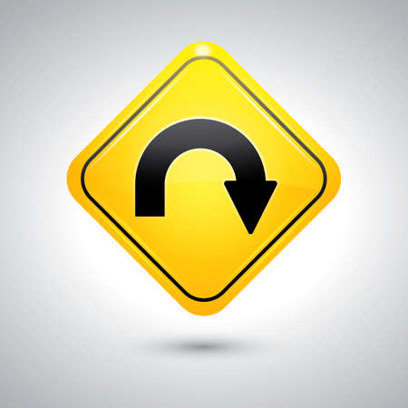 uturn: U-turn sign Illustration