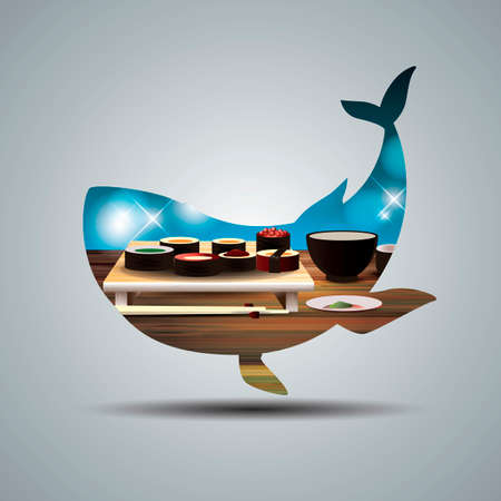 double exposure: Double exposure of a whale and Japanese food