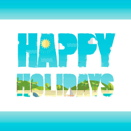 exposure: Double exposure of happy holidays text with beach landscape Illustration
