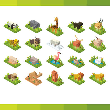 3d lion: Collection of isometric animals