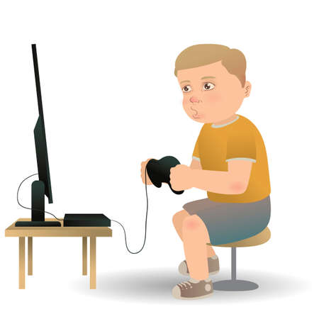 console table: Boy playing video game