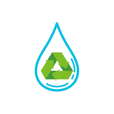 gota de agua: Water drop with recycle symbol