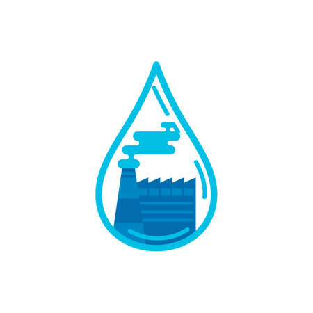harmful to the environment: Water drop with factory