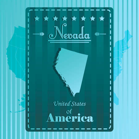 nevada: Nevada state map label Illustration