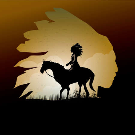 Double exposure of native american