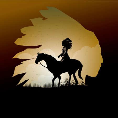 exposure: Double exposure of native american