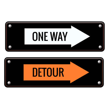 detour: One way and detour road signs Illustration