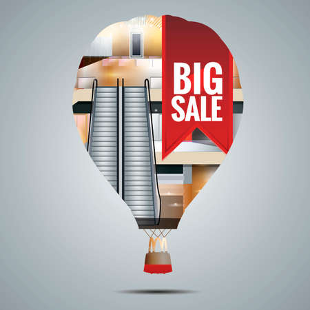 Double exposure of a hot air balloon and a shopping mall Ilustração