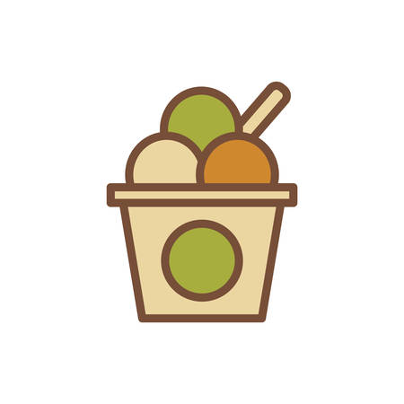 Ice cream scoops in cup Illustration