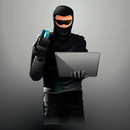 pc: Hacker working on laptop Illustration