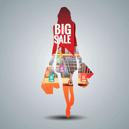 Double exposure of a young woman and shopping mall