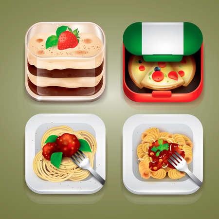 binge: Set of Italian food icons