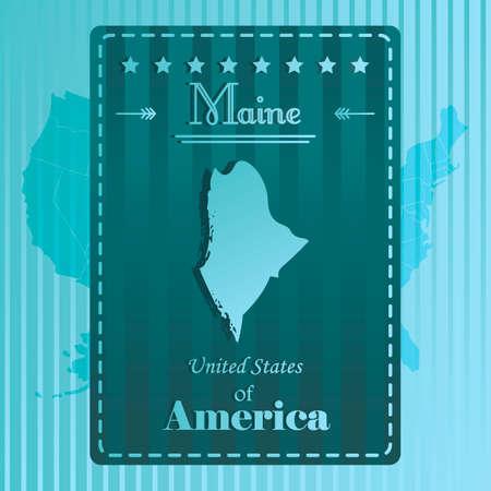 maine: Maine state map label Illustration