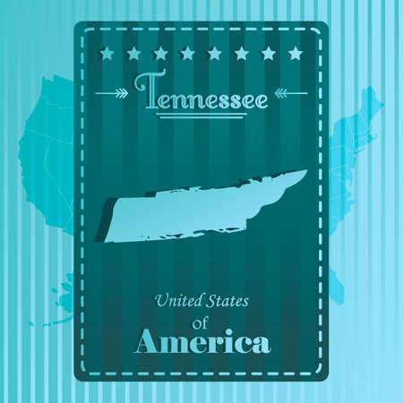 tennesse: Mapa etiqueta del estado de Tennessee