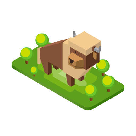 endangered: Isometric bison Illustration