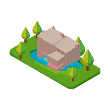 semi aquatic: Isometric hippopotamus Illustration