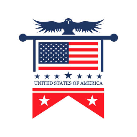 patriotic america: Usa label Illustration