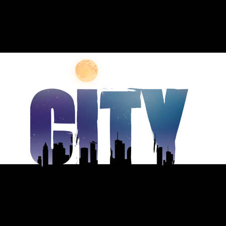 double exposure: Double exposure of city text with city silhouette Illustration