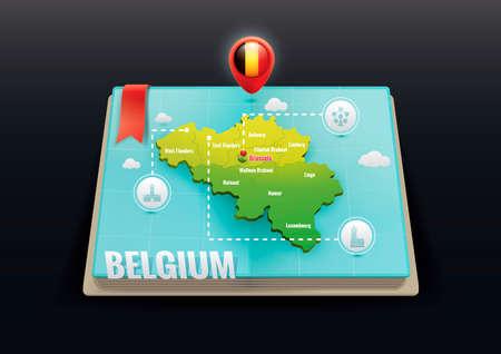 3 point perspective: Belgium map Illustration