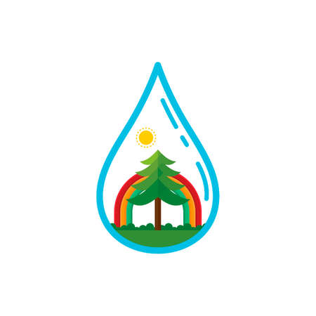 gota de agua: Water drop with tree and rainbow Vectores