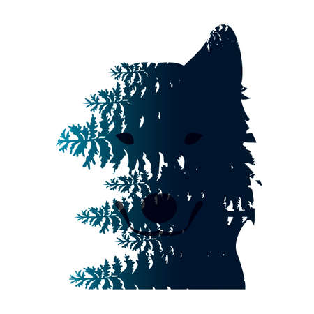 double exposure: Double exposure wolf and forest