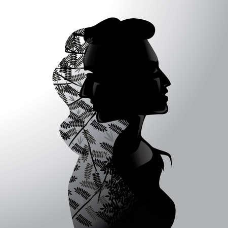 exposición: Hombre Doble exposición y la mujer con la naturaleza Vectores