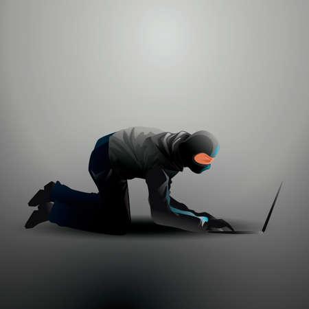 operaia: Hacker working on laptop Vettoriali