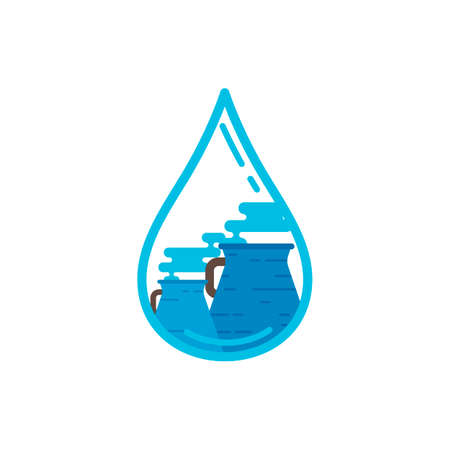 harmful to the environment: Water drop with nuclear plant Illustration