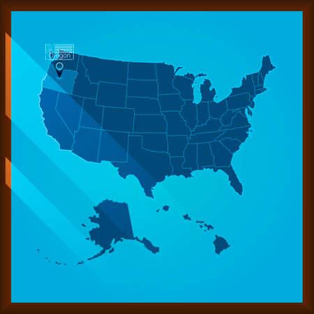 state of oregon: Navigation pointer indicating oregon state on US map