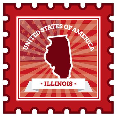 postage stamp: Illinois sello de correos Vectores