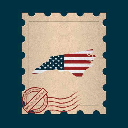 north carolina: North carolina  postage stamp Illustration