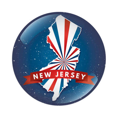 jersey: New jersey map button Illustration