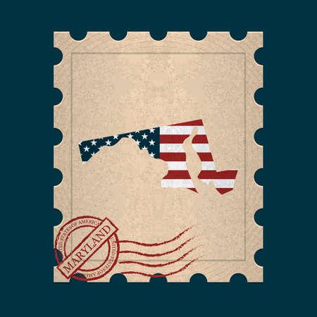 postage stamp: Maryland postage stamp Illustration