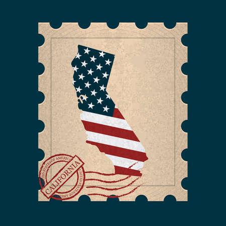 postage stamp: California postage stamp Illustration