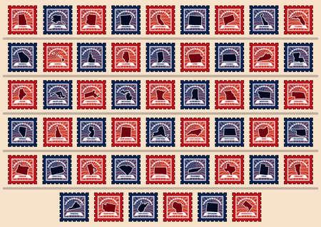 米国状態の切手のセット