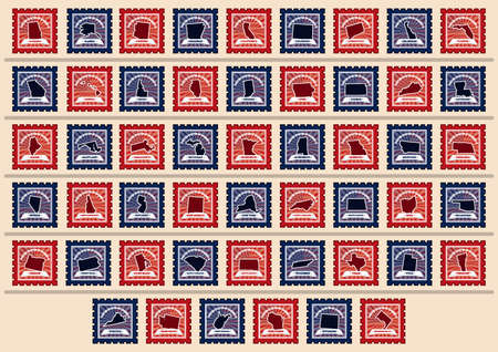 postage stamps: Set of USA state postage stamps