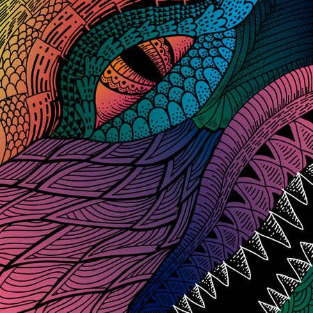 eye close up: Intricate dinosaur design
