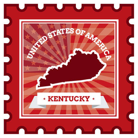 kentucky: Kentucky postage stamp Illustration