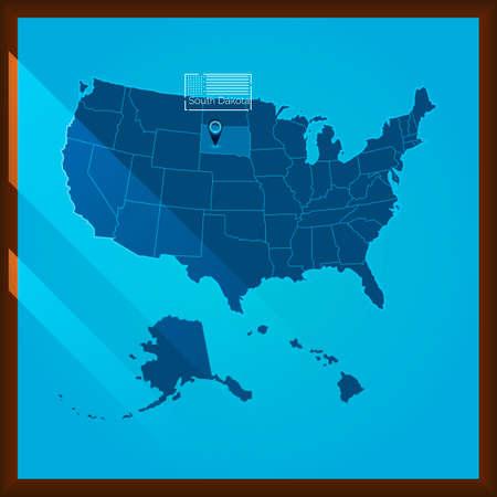 bordered: Navigation pointer indicating south dakota state on US map