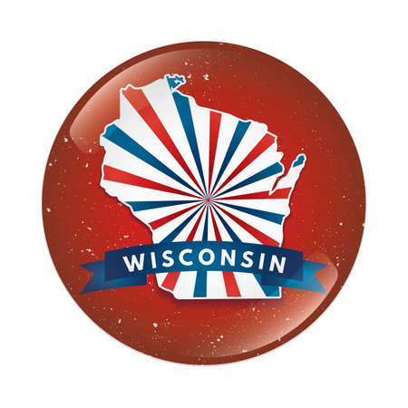 wisconsin: Wisconsin map button Illustration