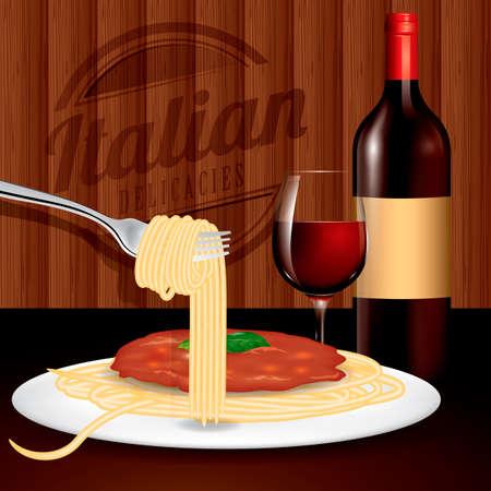 Spaghetti and wine served