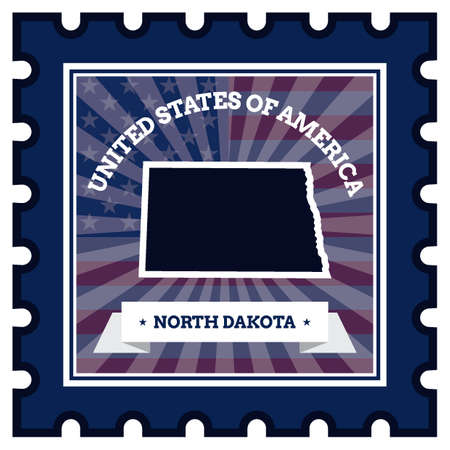 postage stamp: North Dakota postage stamp Illustration
