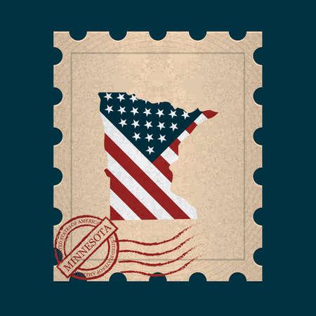 postage stamp: Minnesota postage stamp Illustration